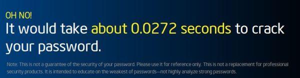 Resultado péssimo, não? Apenas 0,0272 segundos de duração numa tentativa de quebra-la.