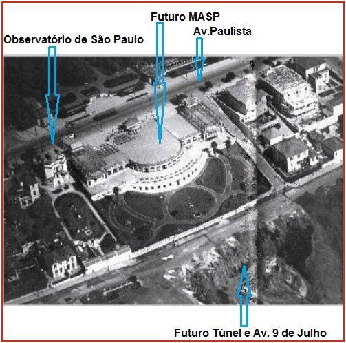 Foto do início do século passado mostrando o Observatório ao lado do Boulevard Trianon, ainda sem os tuneis da avenida 9 de julho.