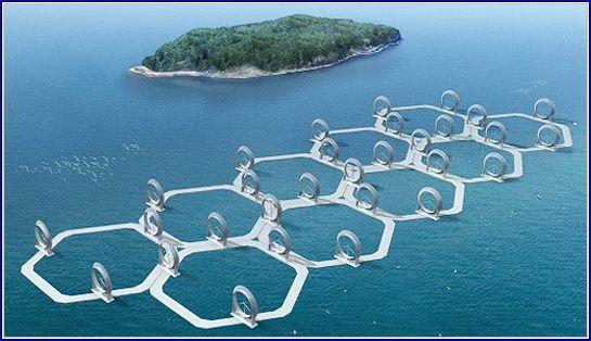"""Um parque eólico de """"wind lens"""" no mar"""