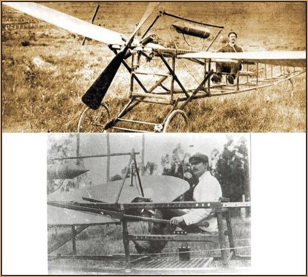 """Lavaud a bordo de sua """"maquina"""" chamada São Paulo, quando realizou o """"vôo"""" pioneiro no País."""
