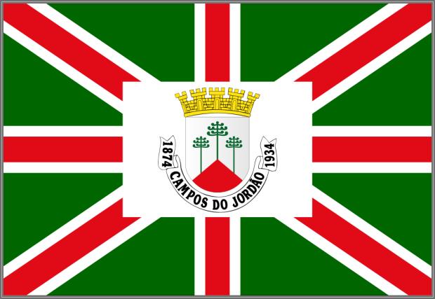 O brasão e a bandeira capturando os 3 pinheiros famosos.