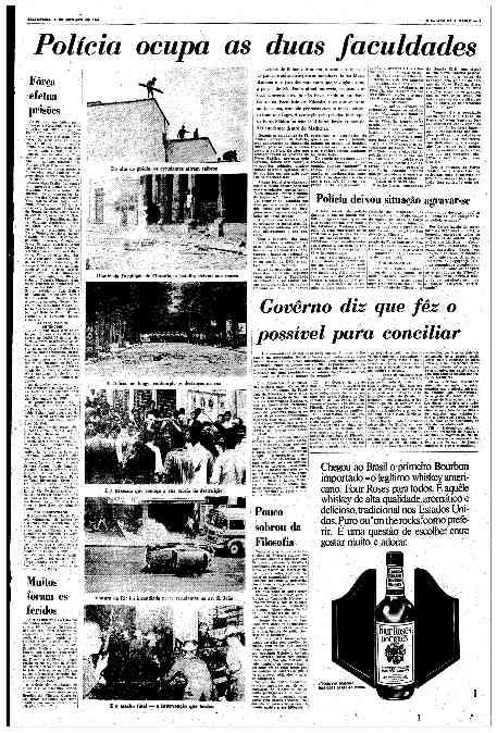 O Estado de S.Paulo - 04 e 05 /10/1968 destacando a ocupação das universidades e o espólio da Batalha.