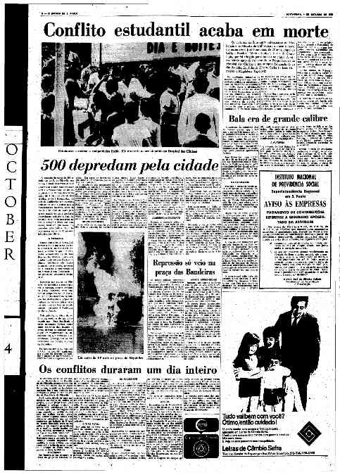 O Estado de S.Paulo - 04/10/1968, destacando a morte do estudante, e da depredação da cidade pelos estudantes da USP, liderados por Travassos e Dirceu.
