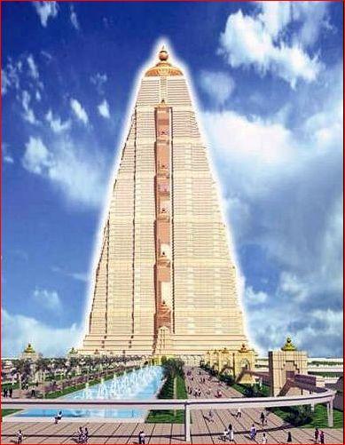 A torre formada por 4 edificações, belos jardins, monotrilho, estações de trem e metrô, entre outras benfeitorias.