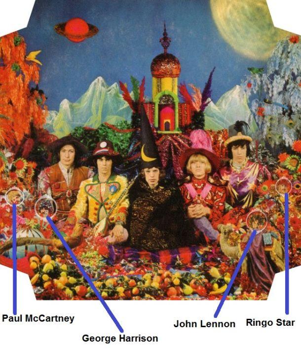 """Em retribuição os Rolling Stones estamparam em seu álbum psicodélico """"Their Satanic Majesties Request"""" as fotos de faces dos 4 Beatles, também em 1967."""