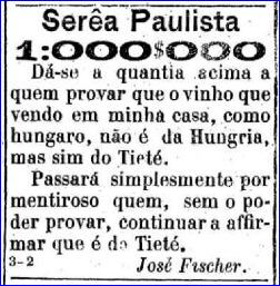 Para o boato da procedência falsa do vinho, Fischer lançou o desafio de prova.