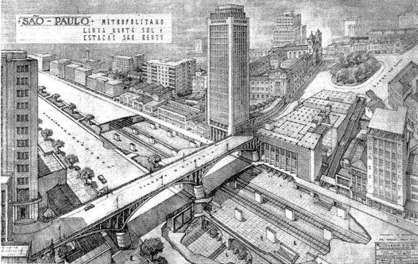 No projeto de 1950, a linha norte-sul passaria totalmente sob o vale do Anhangabaú, aqui mostrado passando também bem abaixo do Viaduto Santa Efigênia e tendo também a Estação São Bento ao lado e em frente ao mosteiro de mesmo nome.