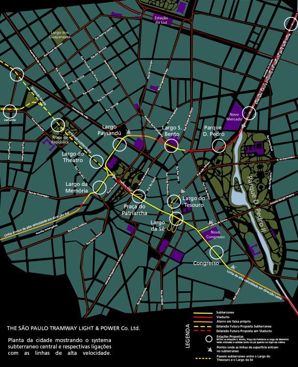 Posposta do Plano integrado da Light, contendo linhas subterrâneas de bondes. Uma das estações centrais seria a São Bento (ao lado do Viaduto Santa Efigênia-fazendo parte de uma provável linha norte-sul) e a outro trajeto sobre o viaduto do Chá (no mapa referenciado como Viaduto Novo-fazendo parte de uma provável linha leste-oeste).