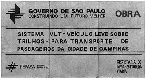 Placa Informativa das Obras do VLT de Campinas em 1989