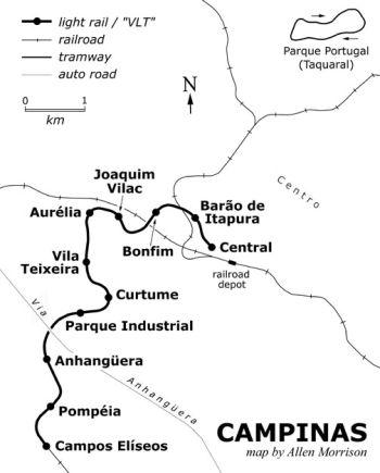 Mapa ilustrativo das estações do VLT de Campinas em 1990