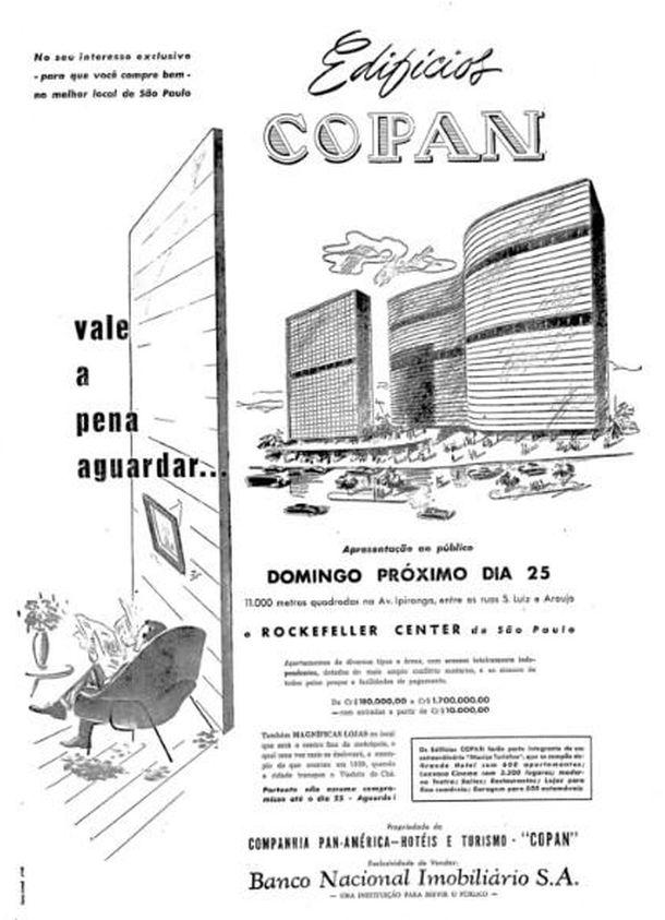 """Propaganda no """"Correio Paulistano"""" destacando a construção do Rockefeller Center brasileiro pelas companhias COPAN e BNI."""
