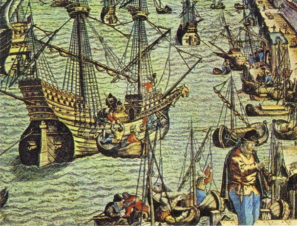 Gravura ilustrando a chegada de Hans Staden no porto de Lisboa. Ele está representado a direita com sua barba.