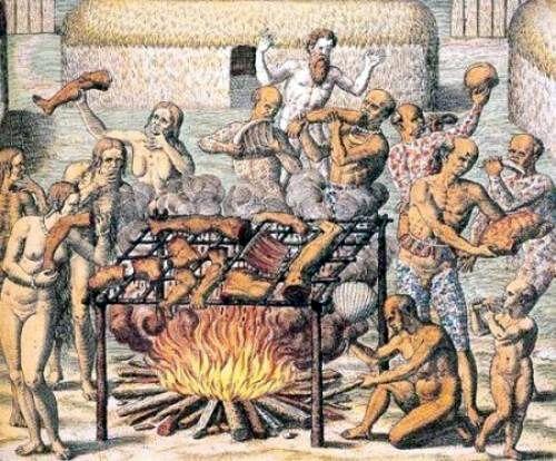 Gravura de uma cena de antropofagia presenciada por Hans Staden (ao fundo de barba)